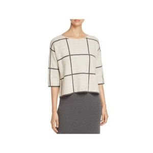 Eileen Fisher Wool Blend Window Pane Sweater Large